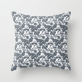 White noise lines on Volcanic Glass color ( Blue ) Throw Pillow