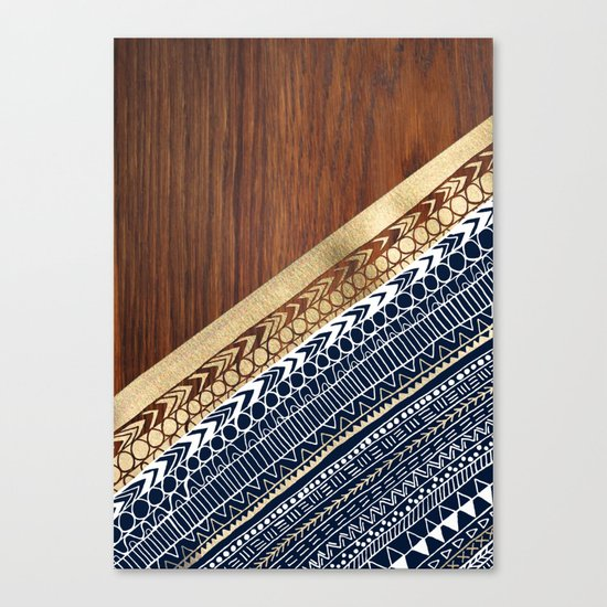 Navy & Gold Tribal on Wood Canvas Print