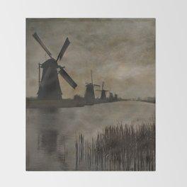 Windmills at Kinderdijk Holland Throw Blanket