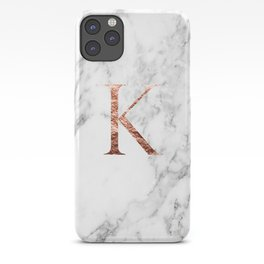 Monogram rose gold marble K iPhone Case