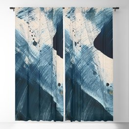 Against the Current [2]: A bold, minimal abstract acrylic piece in blue, white and gold Blackout Curtain