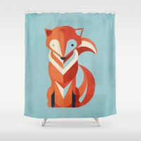 fox Shower Curtains featuring Fox by Jay Fleck