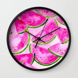 Pink Summer Watermelon Print Wall Clock