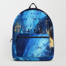 Vortex: a vibrant, blue and gold abstract mixed-media piece Backpack