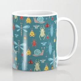 Little Bugs and Mini Beasts on Teal Coffee Mug