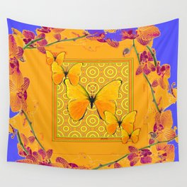 Golden Yellow Butterflies Orchid Sprays Purple Lilac Patterns Wall Tapestry