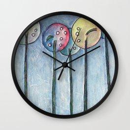 Lollipop Trees 1 Blue Series Wall Clock