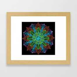 Neon Mandala Framed Art Print