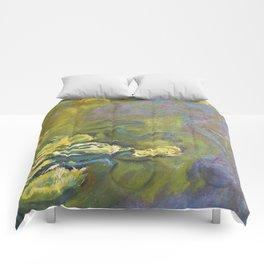 Yellow-Green Monet´s Theme of Waterlilies Comforters