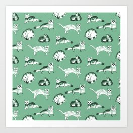 Cats, cats, cats pattern in green palette Art Print