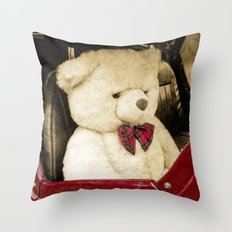 TEDDY GOES FOR A DRIVE Throw Pillow
