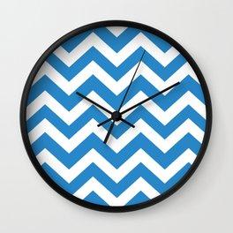Green-blue (Crayola) - blue color - Zigzag Chevron Pattern Wall Clock