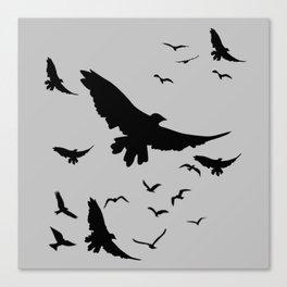 FLOCK OF RAVENS IN GREY SKY Canvas Print
