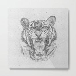 Black and White Tiger Dot Art Metal Print