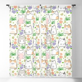 Seamless Pattern Cute Kawaii Cats Flowers Butterflies Blackout Curtain