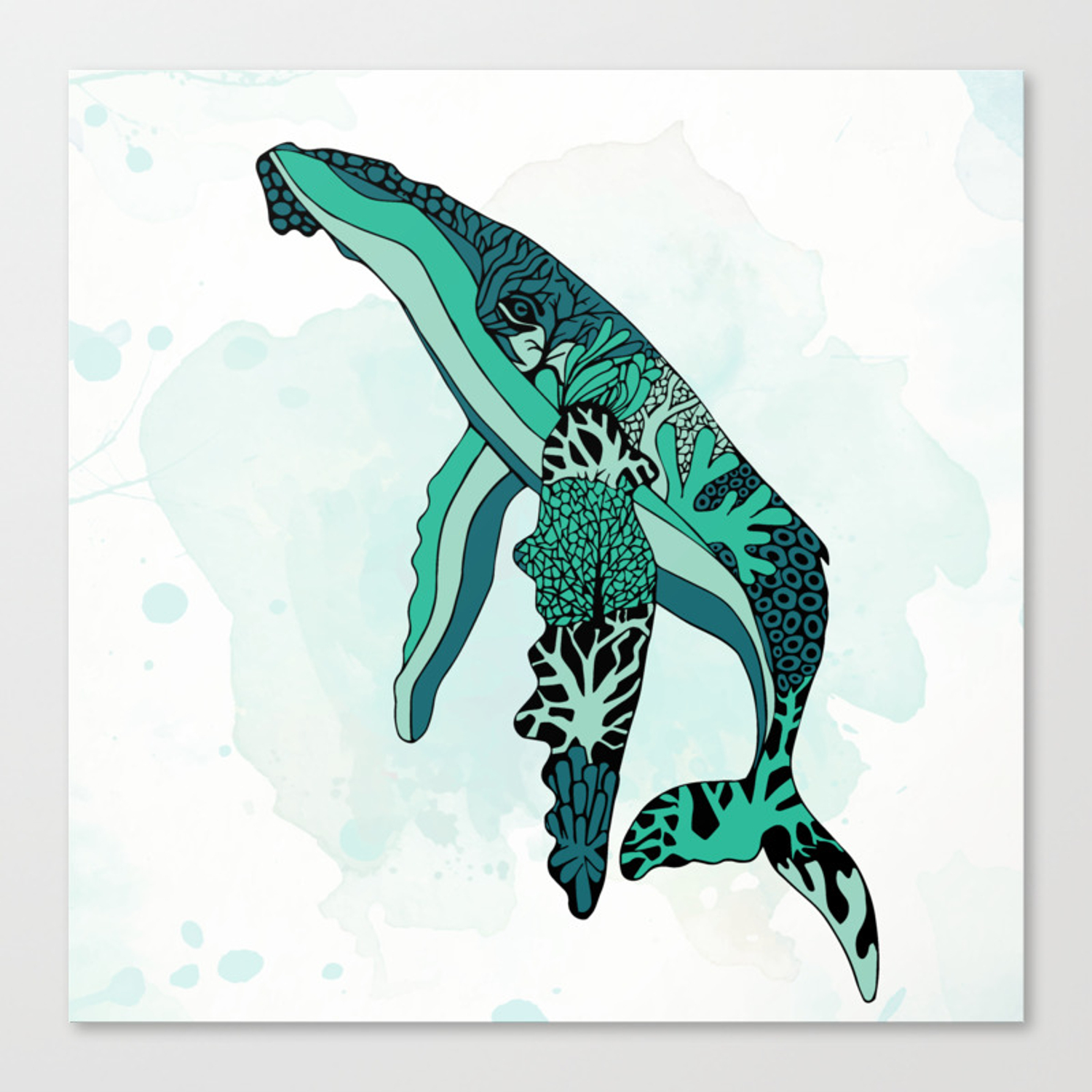 Coral Reef Humpback Whale Canvas Print By Greenwelldeisgn Society6