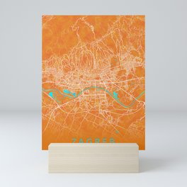 Zagreb, Croatia, Gold, Blue, City, Map Mini Art Print