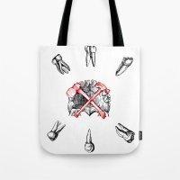 teeth Tote Bags featuring Teeth by Ilya kutoboy