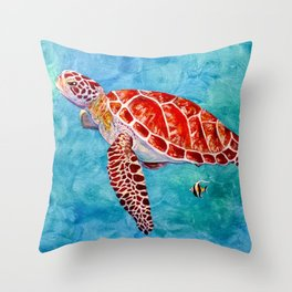 Sea turtle and friend Throw Pillow