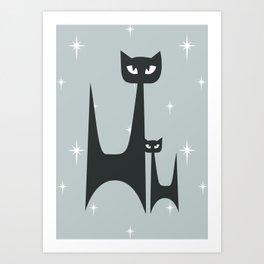 Mid Century Atomic Blue Cats Art Print