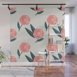 Seamless Beautiful Pink Red Peony Flower Pattern Wall Mural