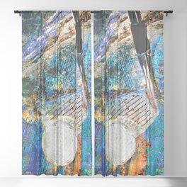 Golf art print work 12 Sheer Curtain