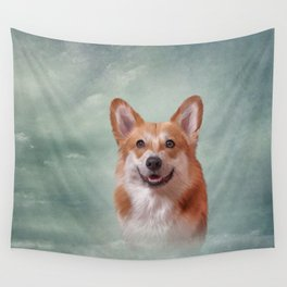 Drawing Dog breed Welsh Corgi portrait Wall Tapestry