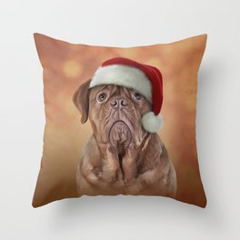 dog Dogue de Bordeaux in red hat of Santa Claus Throw Pillow