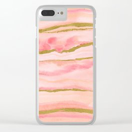 Pink watercolor marble with gold foil Clear iPhone Case