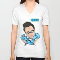 geek V-neck T-shirts featuring GEEK by VIKAART
