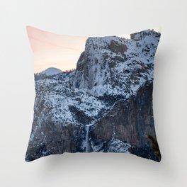 Yosemite Bridal Veil Falls Sunrise Throw Pillow