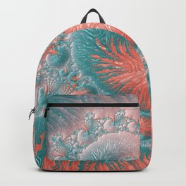 Living Coral Teal Blue Spiral Swirl Pattern Abstract Coral Reef Fractal Backpack