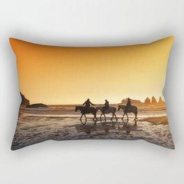Sunset On Horseback Rectangular Pillow