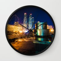 metallic Wall Clocks featuring Metallic by Sonic Highlark