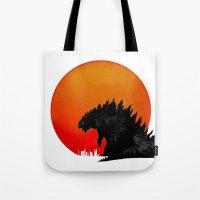 godzilla Tote Bags featuring Godzilla by Maguire