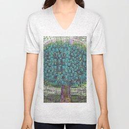 Tree Town - Magical Retro Futuristic Landscape Unisex V-Neck