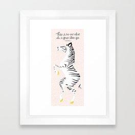 Pink Zebra (Dr. Seuss quote) Right Framed Art Print
