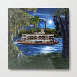 Mystcal Moonlight Cruise Down the Bayou Metal Print