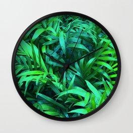 Lush, Luxurious, Lavish, Rainforest Tropical Palm Leaves Wall Clock
