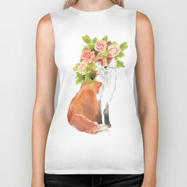 fox with flower crown Biker Tank