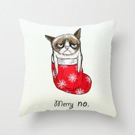 grumpy christmas Throw Pillow