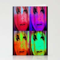 kris tate Stationery Cards featuring Sharon Tate by Joe Ganech