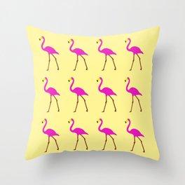 Flamingos in yellow Throw Pillow