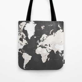 Chalkboard world map with countries and states labelled Tote Bag