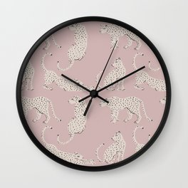 LEOPARD BLOCK PARTY - PINK Wall Clock