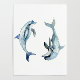 Dolphin, Two Dolphins, chidlren room decor illustration dolphin art Poster