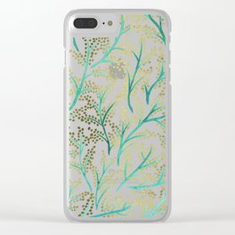 Green & Gold Branches Clear iPhone Case
