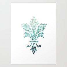 Fleur De Lis - French - Blue Art Print
