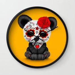 Red Day of the Dead Sugar Skull Panda Wall Clock