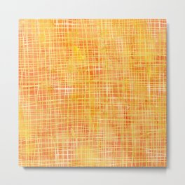 Gold Sunshine Watercolor Crosshatch Metal Print